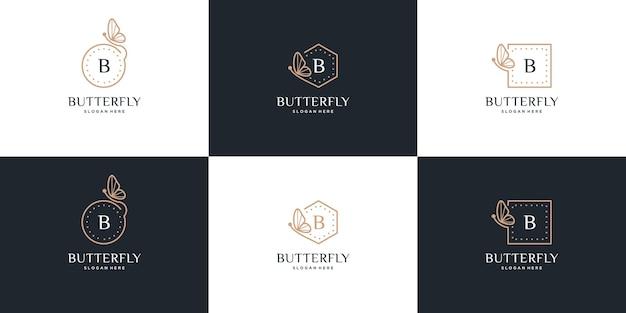 Logo de cadre de papillon avec la conception de la lettre b