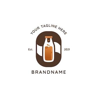 Logo de café de bouteille pressée cold brew