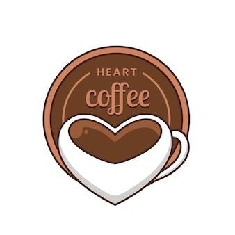 Logo de café coeur avec verre en forme de coeur