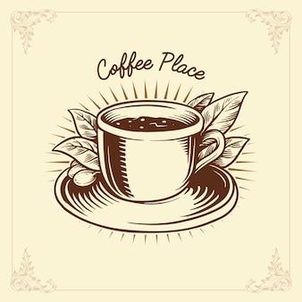 Logo café étiquette dessin traditionnel