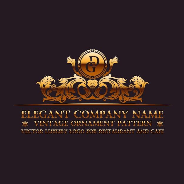 Logo calligraphique de luxe et monogramme en or vintager