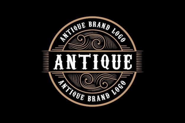 Logo Calligraphique Victorien Héraldique De Luxe Rétro Vintage Antique Avec Cadre Ornemental Vecteur Premium