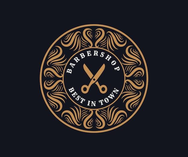 Logo calligraphique victorien de luxe rétro antique avec cadre ornemental pour salon de coiffure salon de coiffure