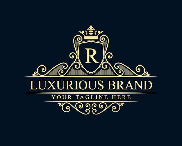Logo calligraphique victorien de luxe rétro antique avec cadre ornemental