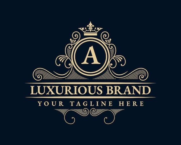 Logo calligraphique victorien de luxe rétro antique