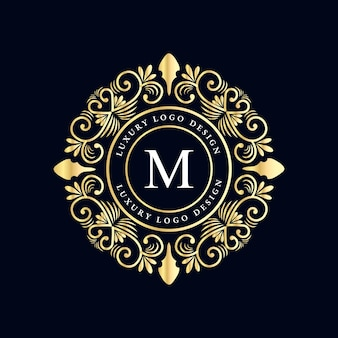 Logo calligraphique victorien de luxe royal antique avec cadre ornemental.