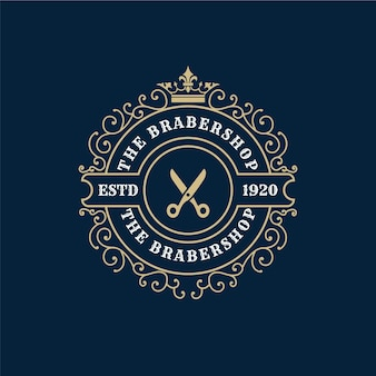 Logo calligraphique victorien de luxe royal antique avec cadre ornemental