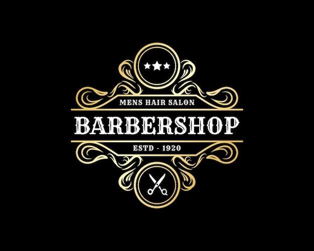 Logo calligraphique victorien de luxe royal antique pour le spa et le salon de beauté des cheveux du salon de coiffure