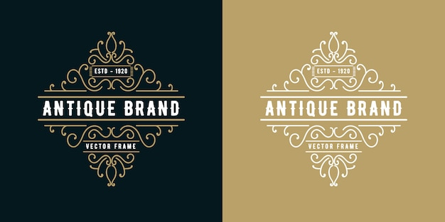 Logo calligraphique victorien de style occidental antique de luxe rétro avec cadre ornemental