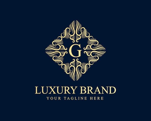Logo calligraphique victorienne de luxe rétro antique avec cadre ornemental