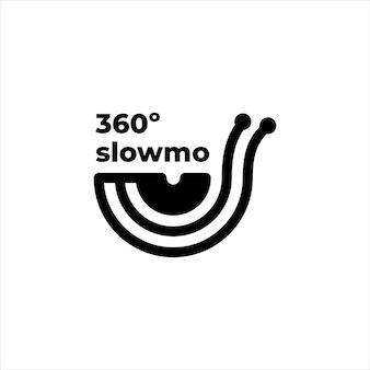 Logo de la caméra au ralenti 360 mascotte escargot
