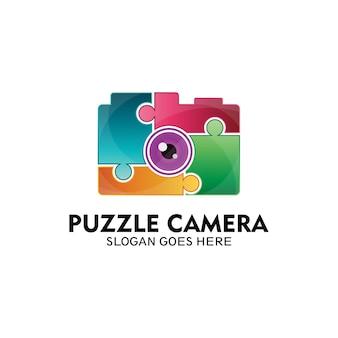 Logo de caméra de puzzle, logo pour le jeu d'effet de caméra - vecteur
