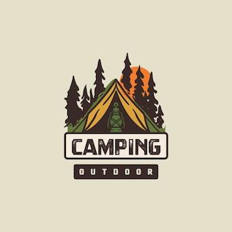 Logo de camping vintage et minimaliste