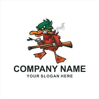 Logo de canard chasseur