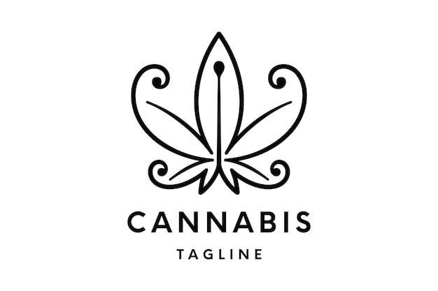 Logo de cannabis ou modèle vectoriel de logo de chanvre