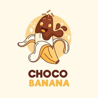 Logo de caractère choco banane