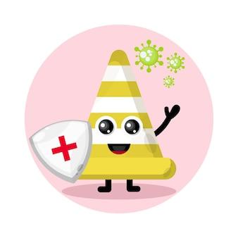 Logo de caractère mignon de protection contre les virus de cône de signalisation