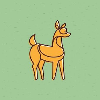 Logo de caractère vectoriel bébé cerf style de ligne plate avec effet d'impression offset