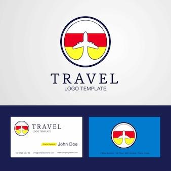 Logo et carte travel ossetia flog du sud