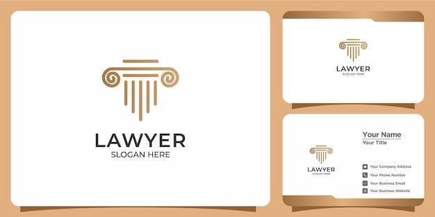 Logo et carte de visite d'avocat de style linéaire minimaliste