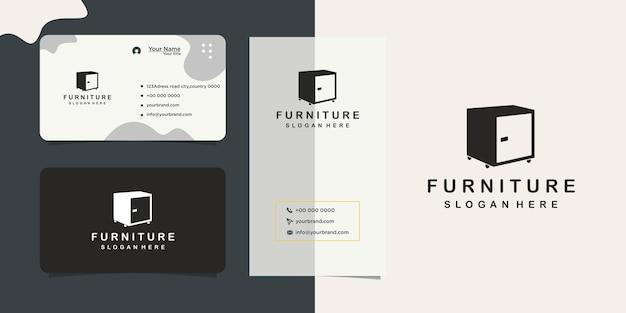 Logo et carte de visite de conception de magasin de meubles à la maison