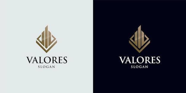 Logo et carte de visite de construction de couleur or