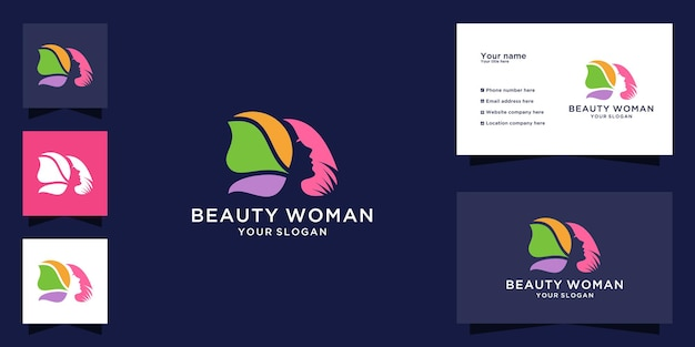 Logo et carte de visite élégants de femme de beauté