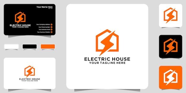 Logo et carte de visite d'énergie domestique de conception moderne
