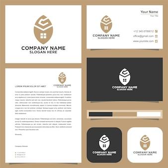 Logo et carte de visite immobilier lettre g