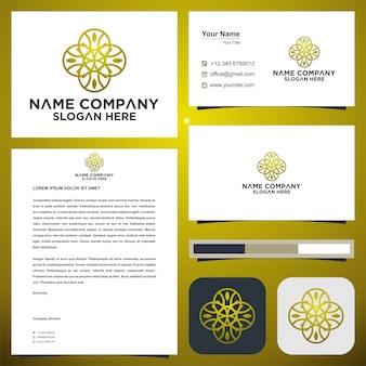 Logo et carte de visite de mandala de cercle de feuille de style ornement