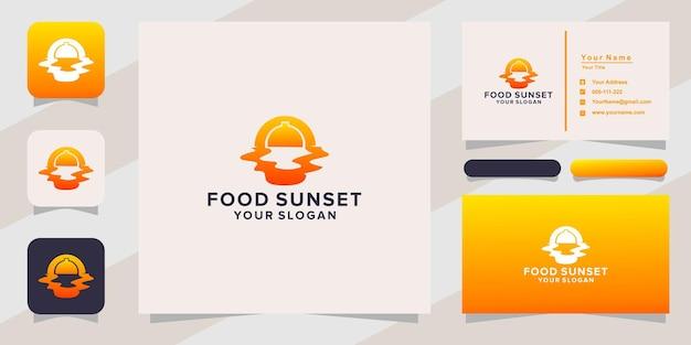 Logo et carte de visite de nourriture au coucher du soleil