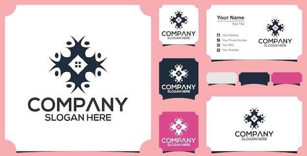 Logo et carte de visite de personnes immobilières abstarct