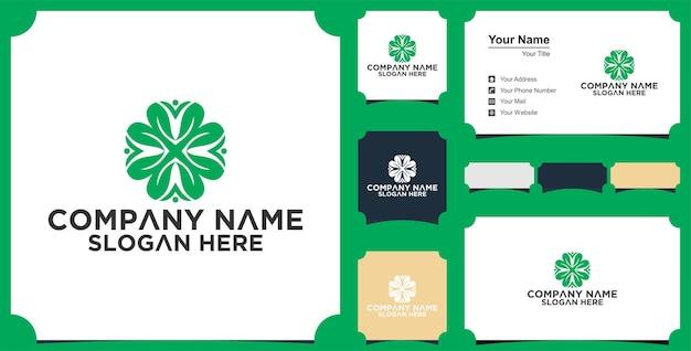 Logo et carte de visite de personnes de maison de feuille