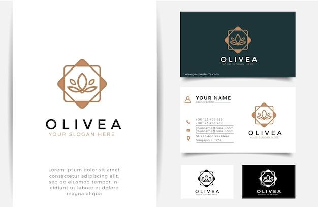 Logo et carte de visite de silhouette d'huile d'olive