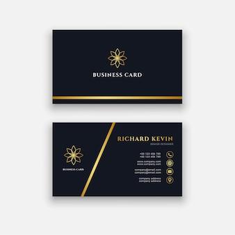 Logo de carte de visite sombre de luxe avec couleur or