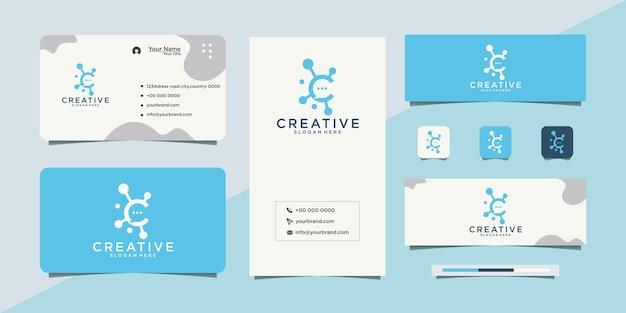 Logo et carte de visite de technologie de conception de logo c