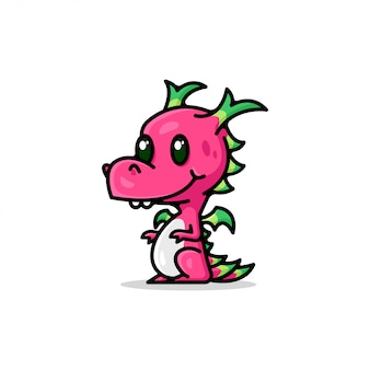 Logo De Cartoon Red Dragon Mignon Vecteur Premium