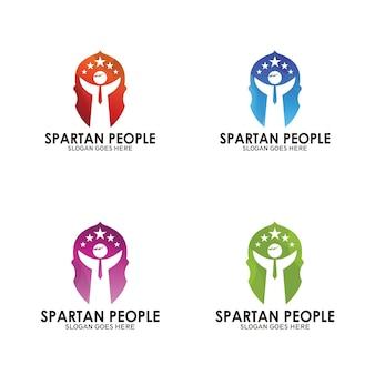 Logo de casque spartiate et personnes réussies, logo de symbole de personnes de réussite, modèle de vecteur