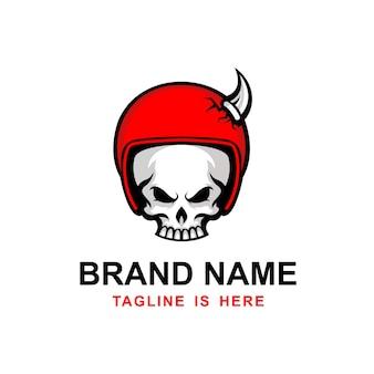 Logo de casque de tête de crâne