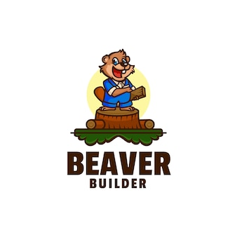 Logo castor builder mascotte style cartoon
