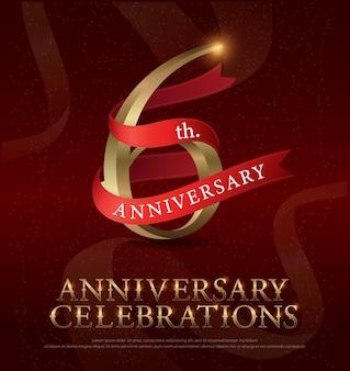 Logo de célébration d'anniversaire de 6ème anniversaire