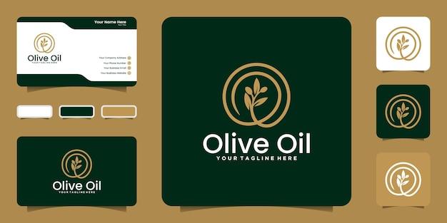 Logo et cercle créatifs d'huile d'olive avec modèle de style de ligne et conception de carte de visite