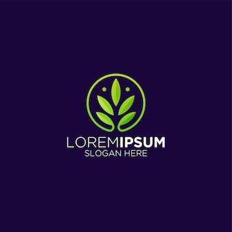 Logo de cercle de feuilles et d'ornements