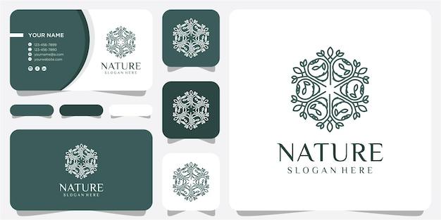 Logo de cercle de feuilles, spa, massage, herbe, icône, plante, éducation, yoga, santé et conception de concept de nature