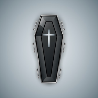 Logo de cercueil sur fond gris