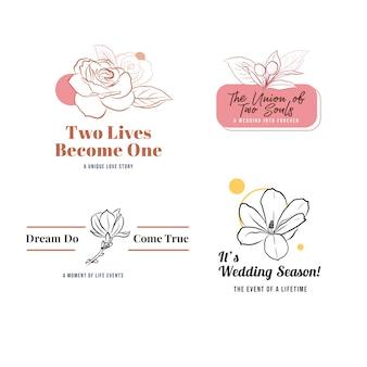 Logo avec cérémonie de mariage pour la marque et l'icône