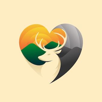 Logo de cerf avec concept d'amour