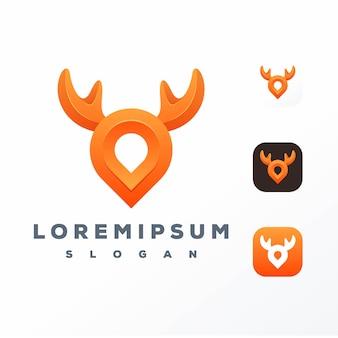 Logo de cerf de pin coloré