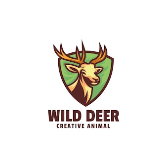 Logo cerf sauvage style mascotte simple