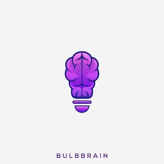 Logo de cerveau d'ampoule génial